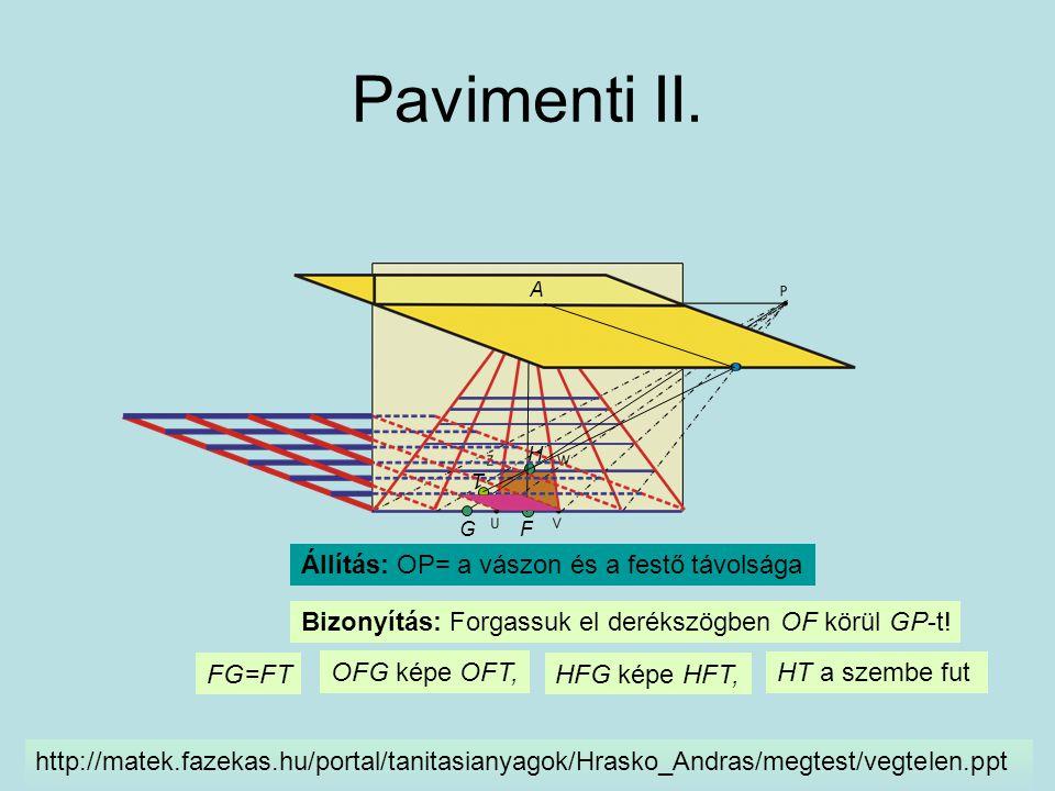 Pavimenti II. Állítás: OP= a vászon és a festő távolsága F G H Bizonyítás: Forgassuk el derékszögben OF körül GP-t! http://matek.fazekas.hu/portal/tan