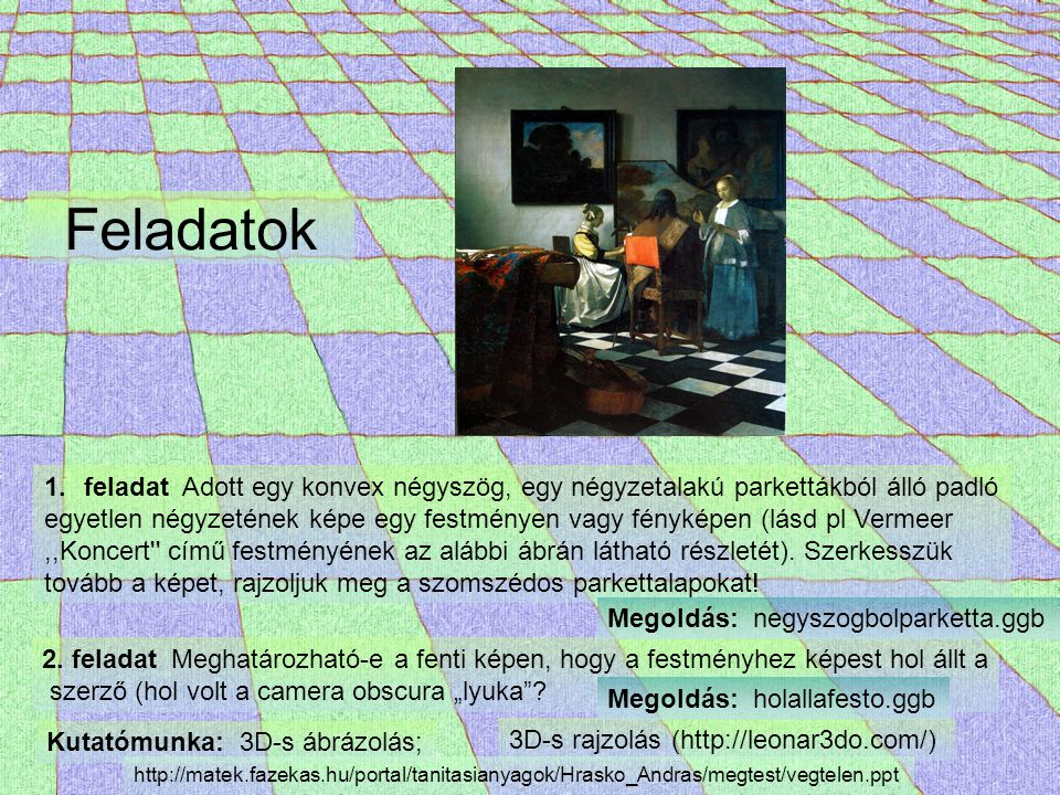 Feladatok 1.feladat Adott egy konvex négyszög, egy négyzetalakú parkettákból álló padló egyetlen négyzetének képe egy festményen vagy fényképen (lásd
