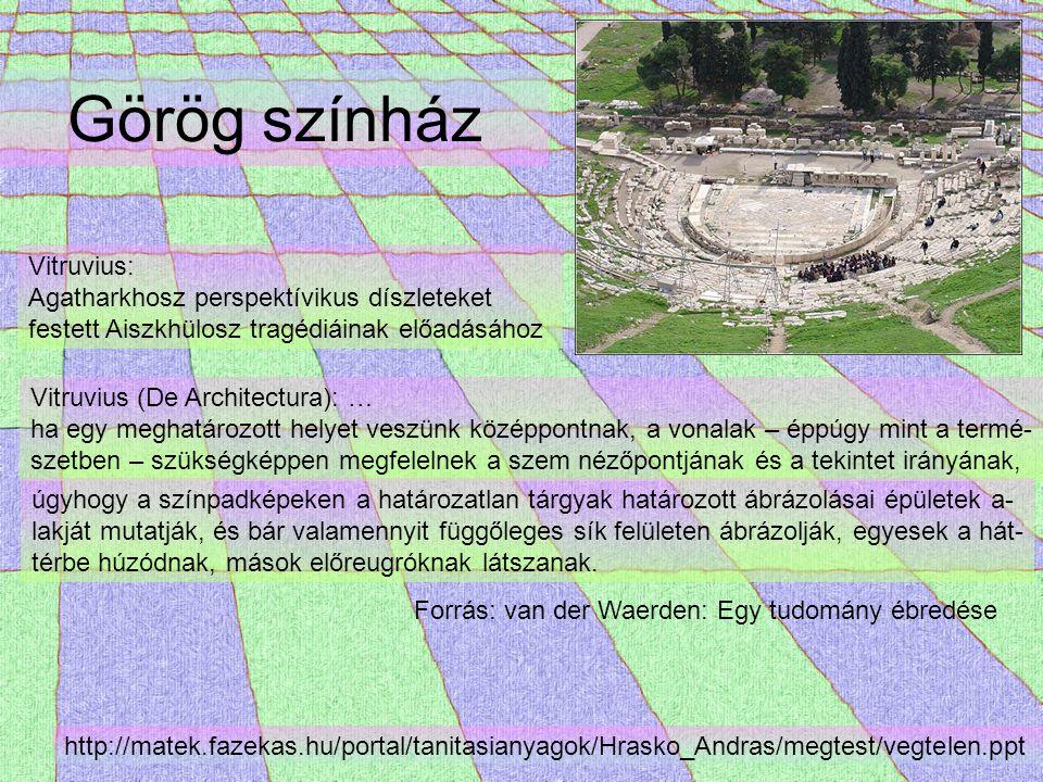 Görög színház Forrás: van der Waerden: Egy tudomány ébredése Vitruvius: Agatharkhosz perspektívikus díszleteket festett Aiszkhülosz tragédiáinak előad