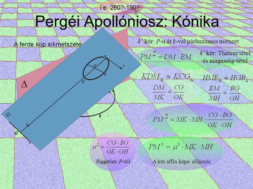 Pergéi Apollóniosz: Kónika i.e. 260?-190? A ferde kúp síkmetszete k' kör: P-n át k-val párhuzamos metszet k' kör: Thalesz tétel és magasság-tétel függ
