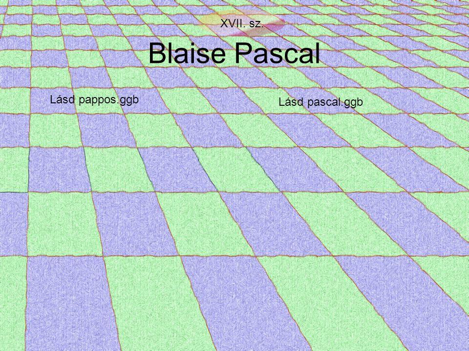 Blaise Pascal XVII. sz. Lásd pappos.ggb Lásd pascal.ggb