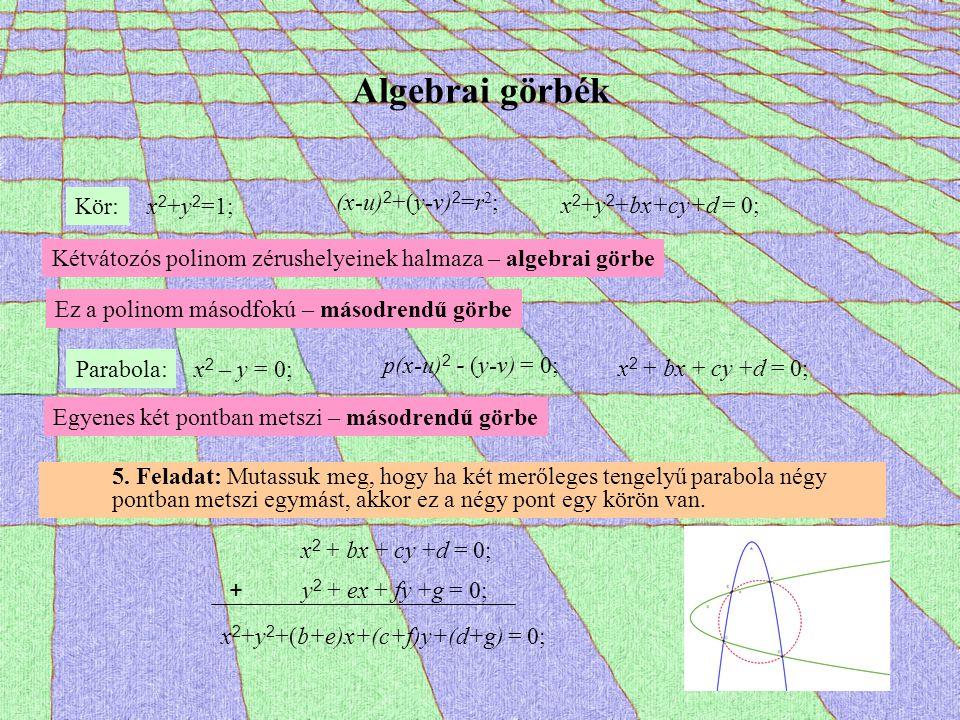 Algebrai görbék Kör: x 2 +y 2 =1; (x-u) 2 +(y-v) 2 =r 2 ; x 2 +y 2 +bx+cy+d = 0; Kétvátozós polinom zérushelyeinek halmaza – algebrai görbe Ez a polin