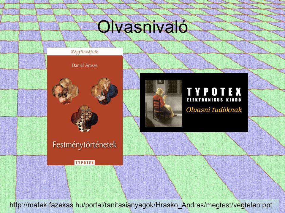 Olvasnivaló http://matek.fazekas.hu/portal/tanitasianyagok/Hrasko_Andras/megtest/vegtelen.ppt