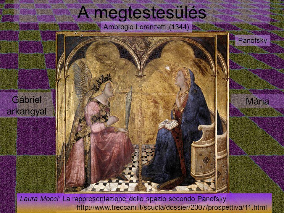 A megtestesülés Gábriel arkangyal Mária Ambrogio Lorenzetti (1344) Panofsky Laura Mocci: La rappresentazione dello spazio secondo Panofsky http://www.