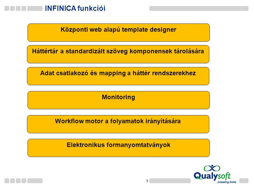 5 INFINICA funkciói Központi web alapú template designer Adat csatlakozó és mapping a háttér rendszerekhez Monitoring Workflow motor a folyamatok irányítására Elektronikus formanyomtatványok Háttértár a standardizált szöveg komponensek tárolására