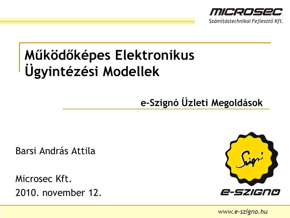 www.e-szigno.hu Működőképes Elektronikus Ügyintézési Modellek e-Szignó Üzleti Megoldások Barsi András Attila Microsec Kft.