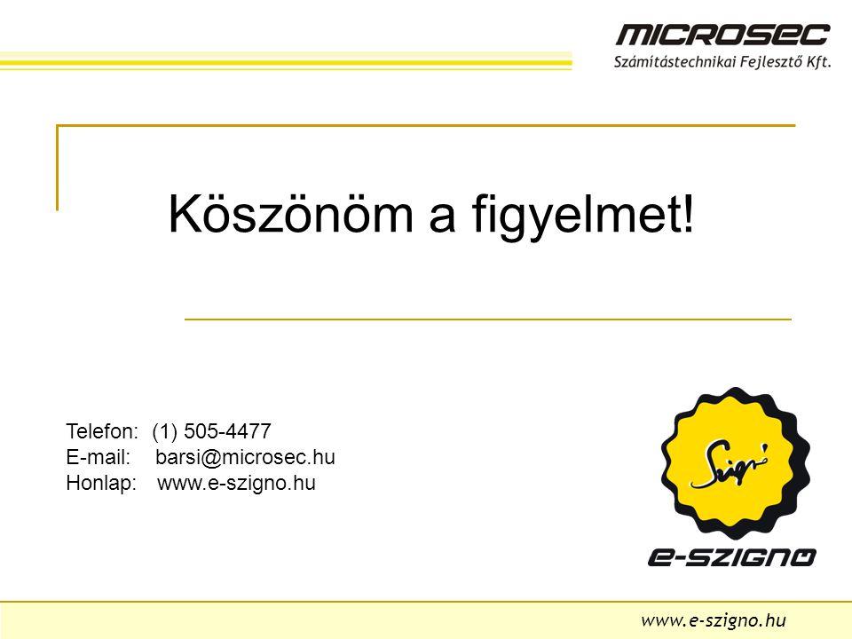 www.e-szigno.hu Köszönöm a figyelmet.