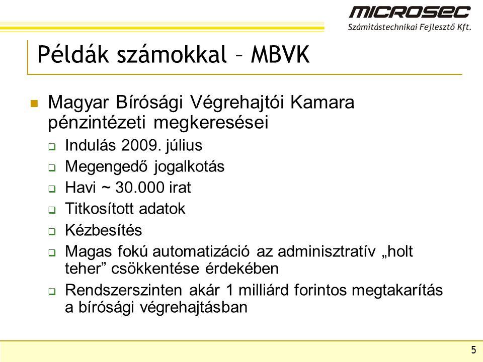 5 Példák számokkal – MBVK Magyar Bírósági Végrehajtói Kamara pénzintézeti megkeresései  Indulás 2009.