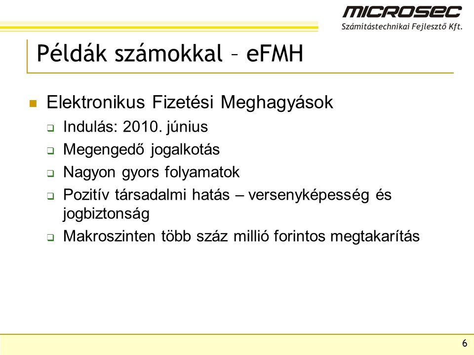 6 Példák számokkal – eFMH Elektronikus Fizetési Meghagyások  Indulás: 2010.