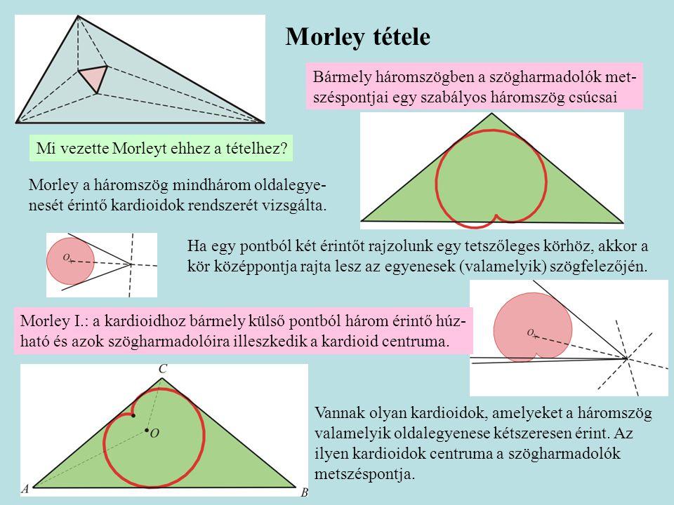 Morley tétele Bármely háromszögben a szögharmadolók met- széspontjai egy szabályos háromszög csúcsai Részletesen lásd: http://matek.fazekas.hu/tanitasianyagok/Hrasko_Andras/kardioidhttp://matek.fazekas.hu/tanitasianyagok/Hrasko_Andras/kardioid vagy http://matek.fazekas.hu/portal/tanitasianyagok/Arki_Tamas/kisgeo/php/article.php?article=morleyproof