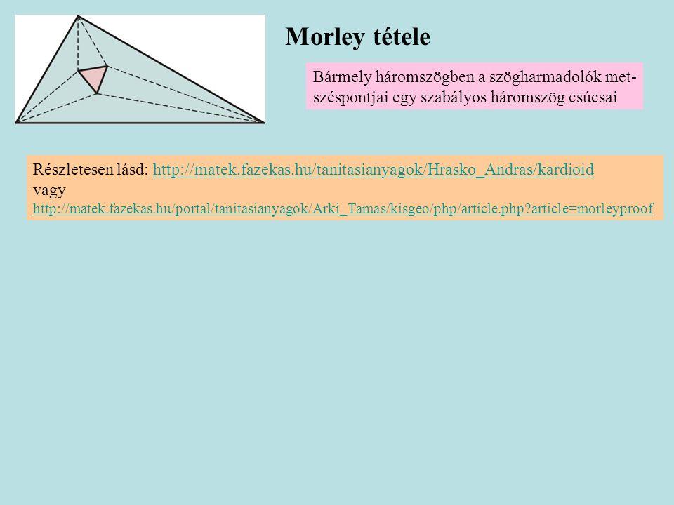 Morley tétele Bármely háromszögben a szögharmadolók met- széspontjai egy szabályos háromszög csúcsai Részletesen lásd: http://matek.fazekas.hu/tanitas