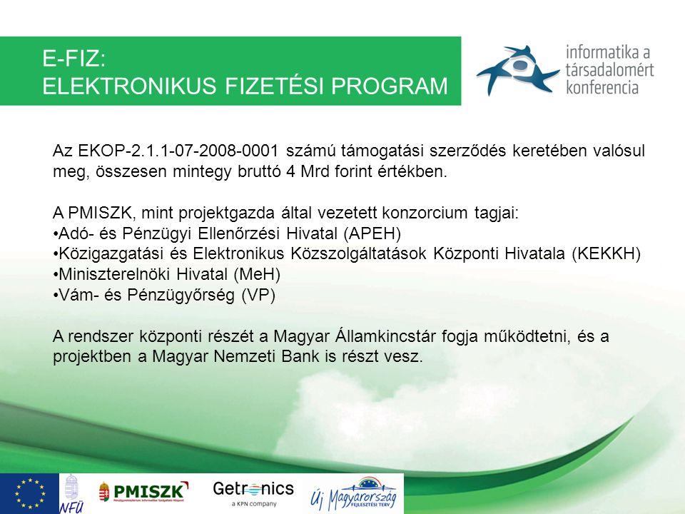 E-FIZ: ELEKTRONIKUS FIZETÉSI PROGRAM Az EKOP-2.1.1-07-2008-0001 számú támogatási szerződés keretében valósul meg, összesen mintegy bruttó 4 Mrd forint
