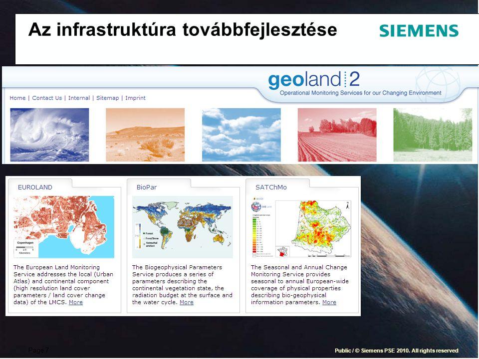 Page 7 Public / © Siemens PSE 2010. All rights reserved Az infrastruktúra továbbfejlesztése