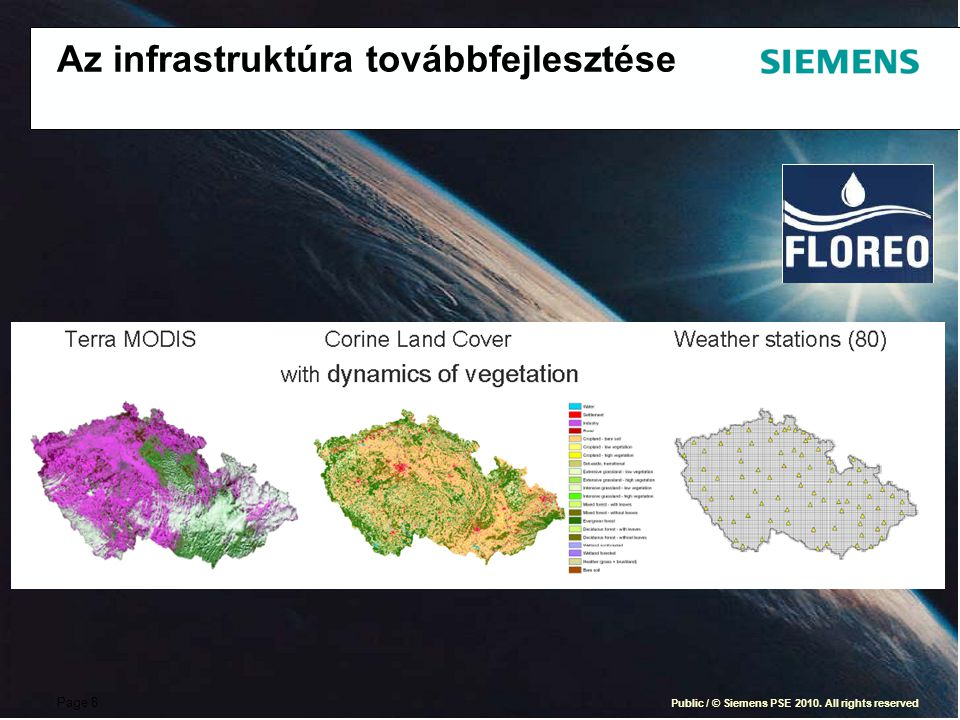 Page 8 Public / © Siemens PSE 2010. All rights reserved Az infrastruktúra továbbfejlesztése