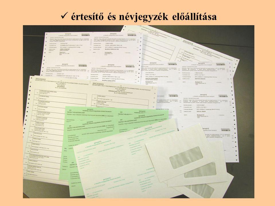 értesítő és névjegyzék előállítása