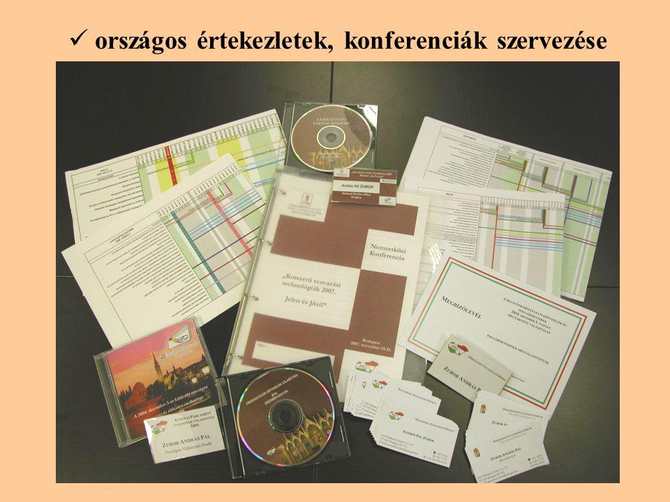 országos értekezletek, konferenciák szervezése