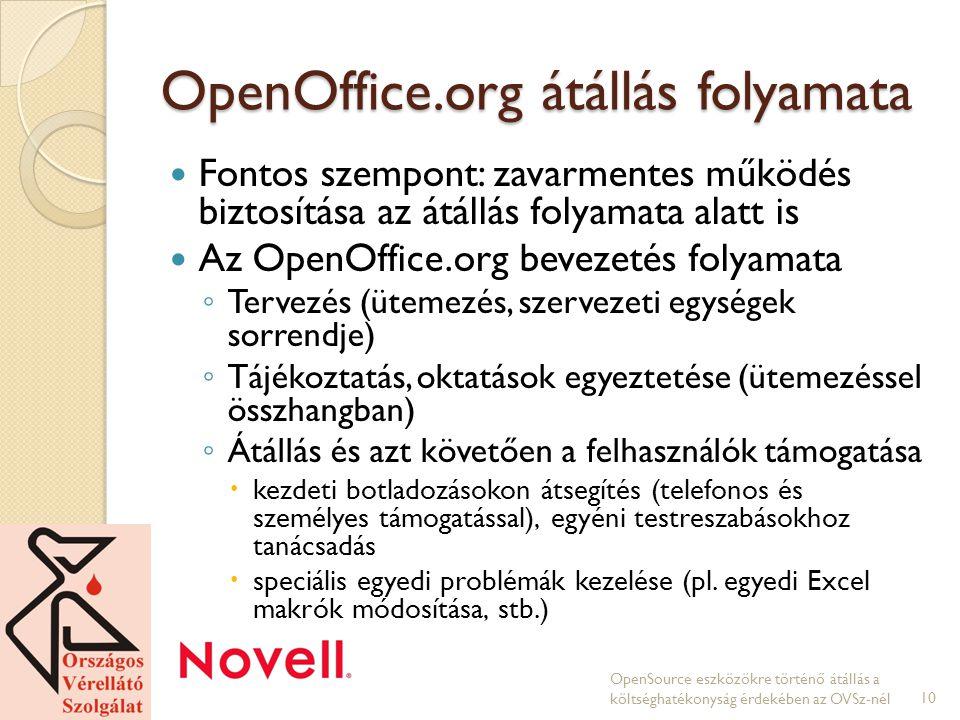 OpenOffice.org átállás folyamata Fontos szempont: zavarmentes működés biztosítása az átállás folyamata alatt is Az OpenOffice.org bevezetés folyamata ◦ Tervezés (ütemezés, szervezeti egységek sorrendje) ◦ Tájékoztatás, oktatások egyeztetése (ütemezéssel összhangban) ◦ Átállás és azt követően a felhasználók támogatása  kezdeti botladozásokon átsegítés (telefonos és személyes támogatással), egyéni testreszabásokhoz tanácsadás  speciális egyedi problémák kezelése (pl.