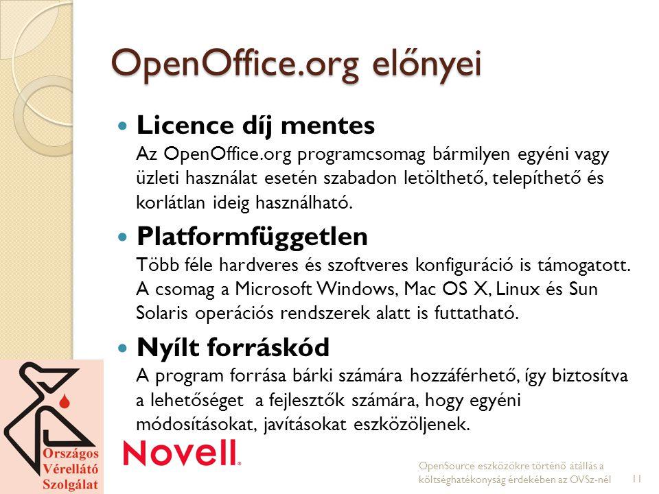 OpenOffice.org előnyei Licence díj mentes Az OpenOffice.org programcsomag bármilyen egyéni vagy üzleti használat esetén szabadon letölthető, telepíthető és korlátlan ideig használható.
