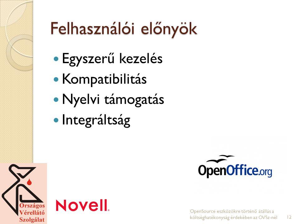 Felhasználói előnyök Egyszerű kezelés Kompatibilitás Nyelvi támogatás Integráltság OpenSource eszközökre történő átállás a költséghatékonyság érdekében az OVSz-nél12