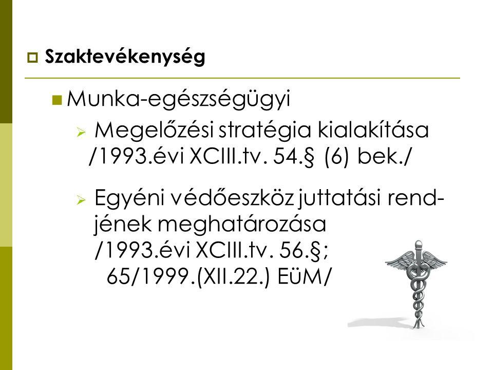  Szaktevékenység Munka-egészségügyi  Megelőzési stratégia kialakítása /1993.évi XCIII.tv. 54.§ (6) bek./  Egyéni védőeszköz juttatási rend- jének m