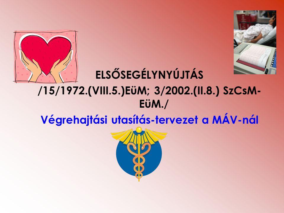 ELSŐSEGÉLYNYÚJTÁS /15/1972.(VIII.5.)EüM; 3/2002.(II.8.) SzCsM- EüM./ Végrehajtási utasítás-tervezet a MÁV-nál