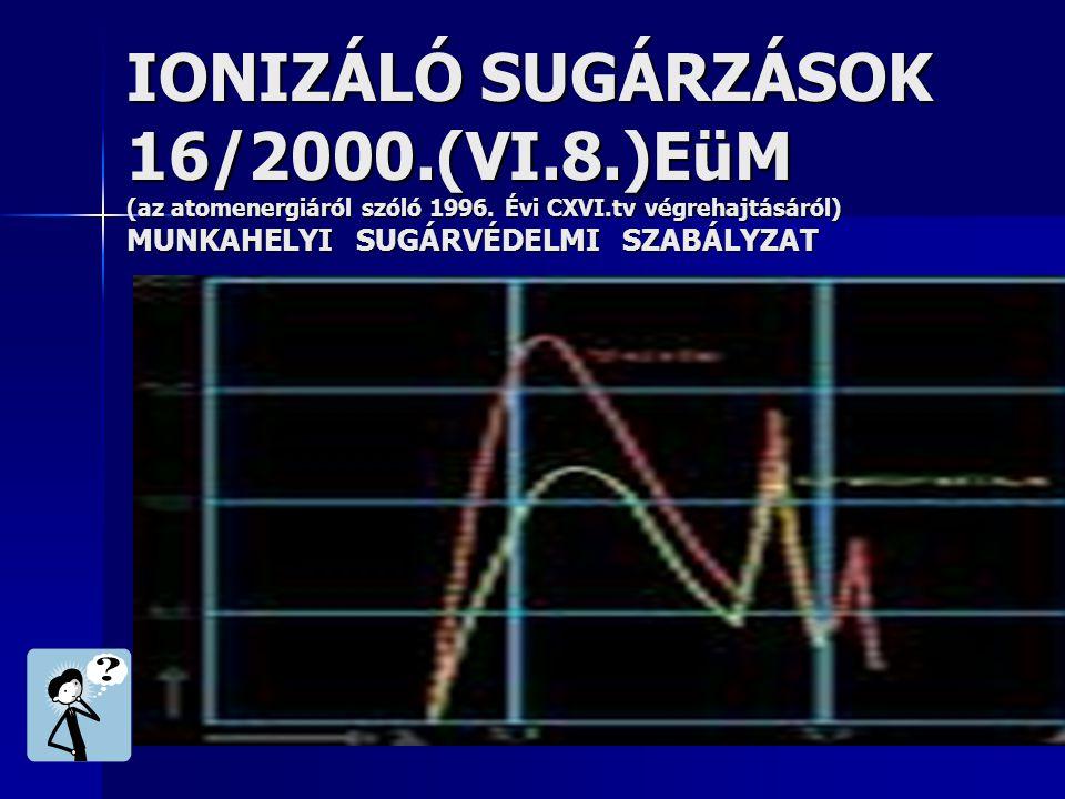 IONIZÁLÓ SUGÁRZÁSOK 16/2000.(VI.8.)EüM (az atomenergiáról szóló 1996. Évi CXVI.tv végrehajtásáról) MUNKAHELYI SUGÁRVÉDELMI SZABÁLYZAT
