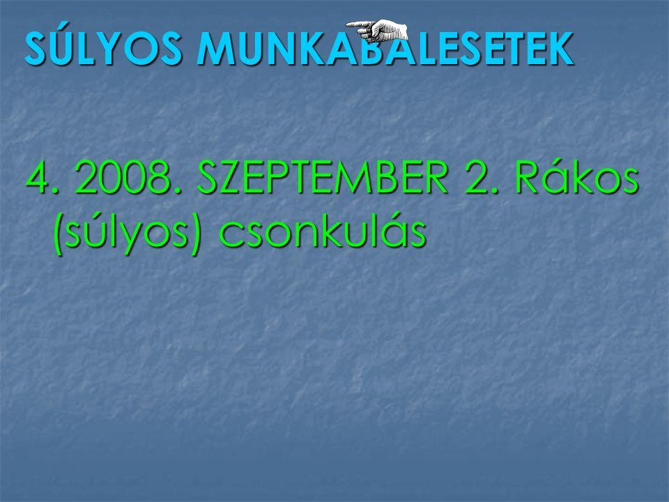 SÚLYOS MUNKABALESETEK 4. 2008. SZEPTEMBER 2. Rákos (súlyos) csonkulás