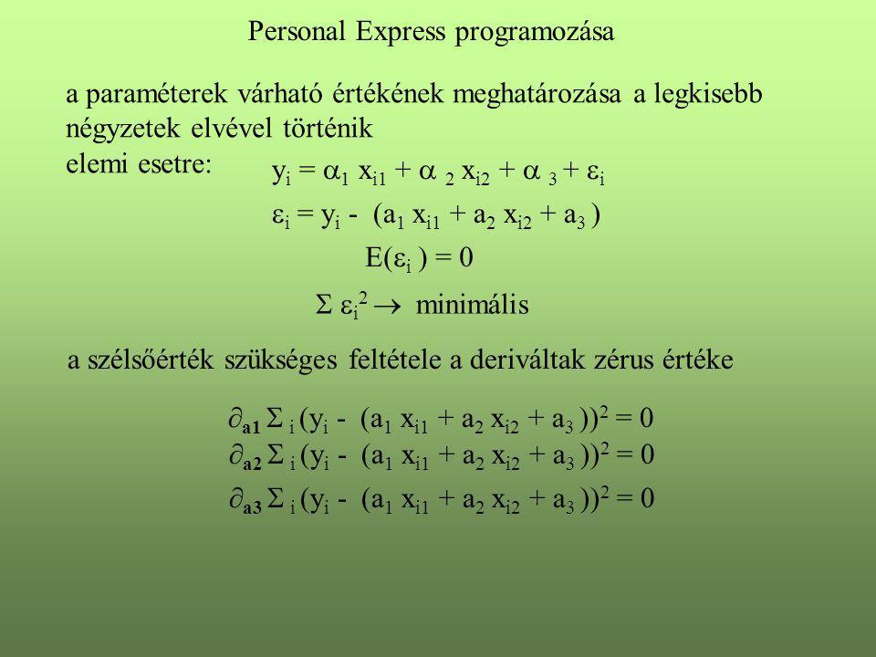 Personal Express programozása a paraméterek várható értékének meghatározása a legkisebb négyzetek elvével történik elemi esetre:  i = y i - (a 1 x i1 + a 2 x i2 + a 3 ) y i =  1 x i1 +  2 x i2 +  3 +  i E(  i ) = 0   i 2  minimális a szélsőérték szükséges feltétele a deriváltak zérus értéke  a1  i (y i - (a 1 x i1 + a 2 x i2 + a 3 )) 2 = 0  a2  i (y i - (a 1 x i1 + a 2 x i2 + a 3 )) 2 = 0  a3  i (y i - (a 1 x i1 + a 2 x i2 + a 3 )) 2 = 0