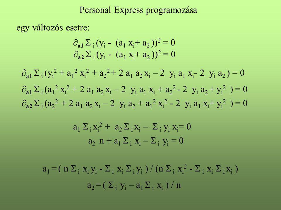  a1  i (y i - (a 1 x i + a 2 )) 2 = 0  a2  i (y i - (a 1 x i + a 2 )) 2 = 0 Personal Express programozása egy változós esetre:  a1  i (y i 2 + a