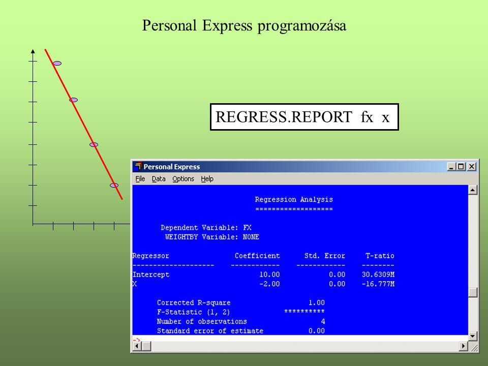 x Personal Express programozása REGRESS.REPORT fx x