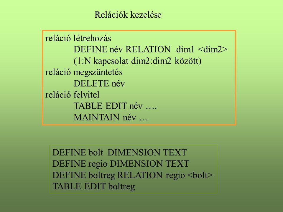 Relációk kezelése reláció létrehozás DEFINE név RELATION dim1 (1:N kapcsolat dim2:dim2 között) reláció megszüntetés DELETE név reláció felvitel TABLE EDIT név ….