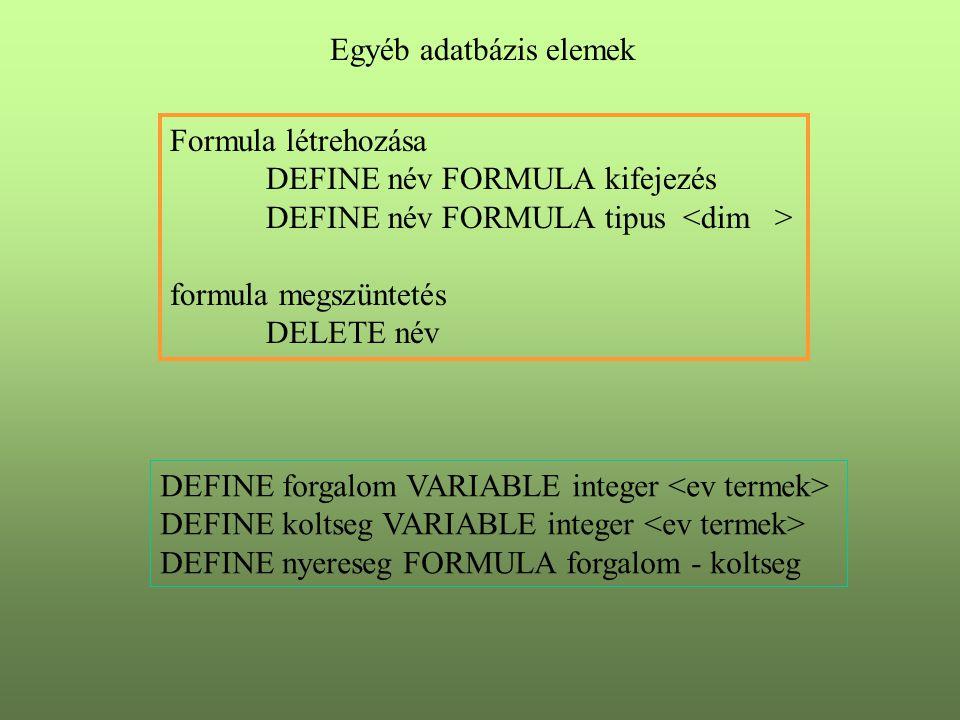 Egyéb adatbázis elemek Formula létrehozása DEFINE név FORMULA kifejezés DEFINE név FORMULA tipus formula megszüntetés DELETE név DEFINE forgalom VARIABLE integer DEFINE koltseg VARIABLE integer DEFINE nyereseg FORMULA forgalom - koltseg