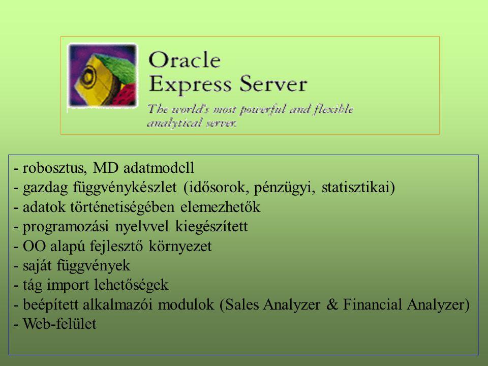 - robosztus, MD adatmodell - gazdag függvénykészlet (idősorok, pénzügyi, statisztikai) - adatok történetiségében elemezhetők - programozási nyelvvel kiegészített - OO alapú fejlesztő környezet - saját függvények - tág import lehetőségek - beépített alkalmazói modulok (Sales Analyzer & Financial Analyzer) - Web-felület