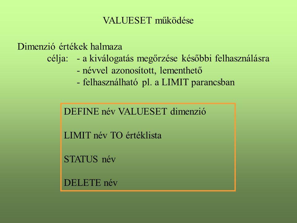 VALUESET működése Dimenzió értékek halmaza célja:- a kiválogatás megőrzése későbbi felhasználásra - névvel azonosított, lementhető - felhasználható pl.