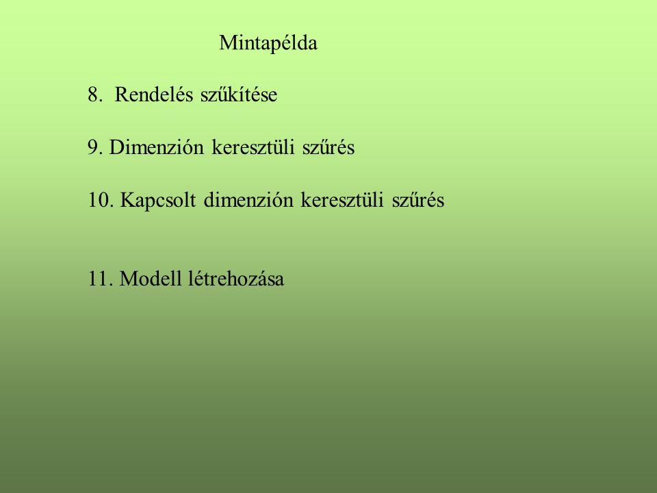 Mintapélda 8. Rendelés szűkítése 9. Dimenzión keresztüli szűrés 10.