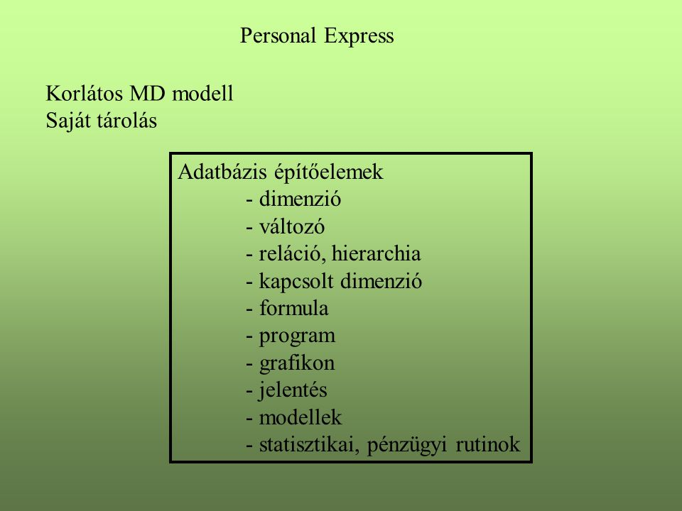 Adatbázis építőelemek - dimenzió - változó - reláció, hierarchia - kapcsolt dimenzió - formula - program - grafikon - jelentés - modellek - statisztikai, pénzügyi rutinok Personal Express Korlátos MD modell Saját tárolás