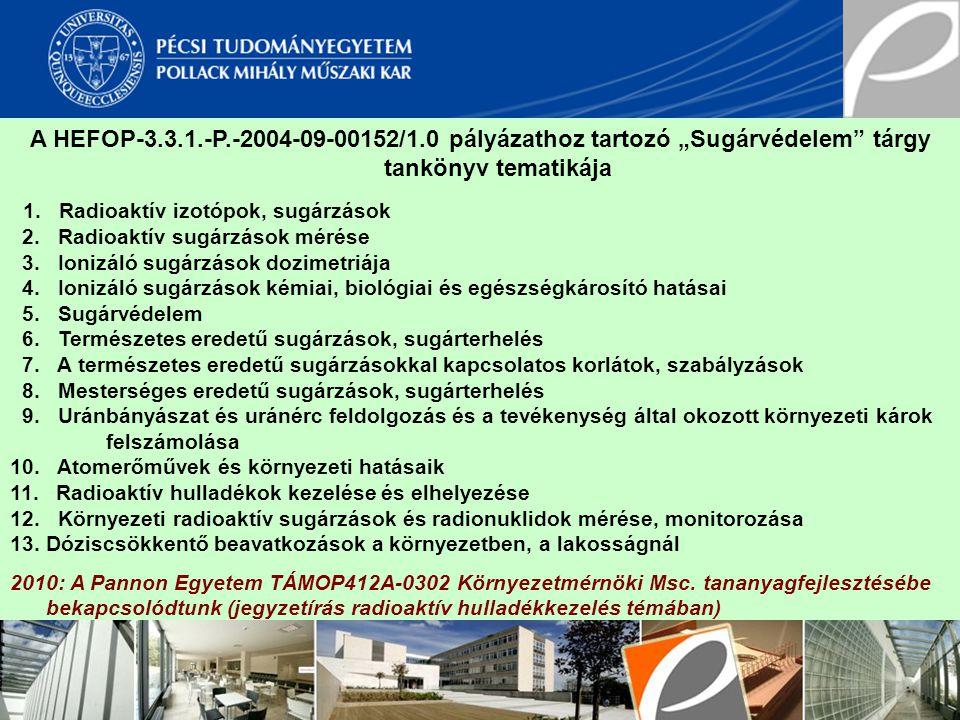 """A HEFOP-3.3.1.-P.-2004-09-00152/1.0 pályázathoz tartozó """"Sugárvédelem"""" tárgy tankönyv tematikája 1. Radioaktív izotópok, sugárzások 2. Radioaktív sugá"""