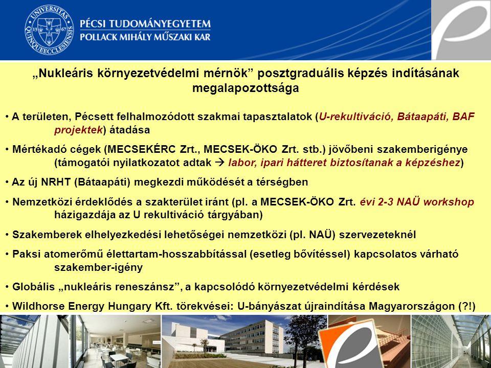 """""""Nukleáris környezetvédelmi mérnök"""" posztgraduális képzés indításának megalapozottsága A területen, Pécsett felhalmozódott szakmai tapasztalatok (U-re"""
