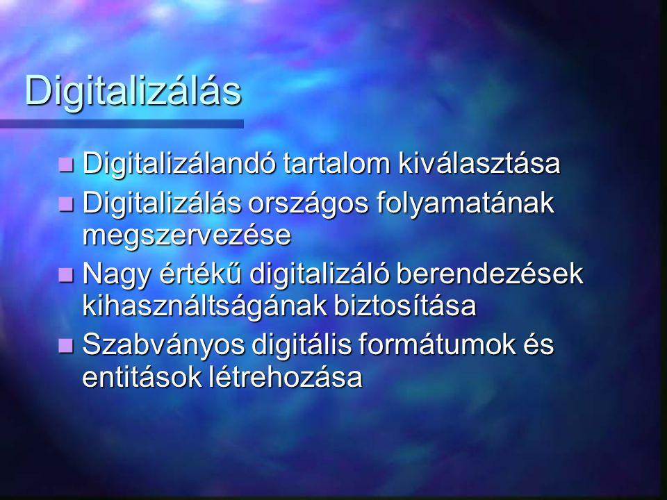 Digitalizálás Digitalizálandó tartalom kiválasztása Digitalizálandó tartalom kiválasztása Digitalizálás országos folyamatának megszervezése Digitalizálás országos folyamatának megszervezése Nagy értékű digitalizáló berendezések kihasználtságának biztosítása Nagy értékű digitalizáló berendezések kihasználtságának biztosítása Szabványos digitális formátumok és entitások létrehozása Szabványos digitális formátumok és entitások létrehozása