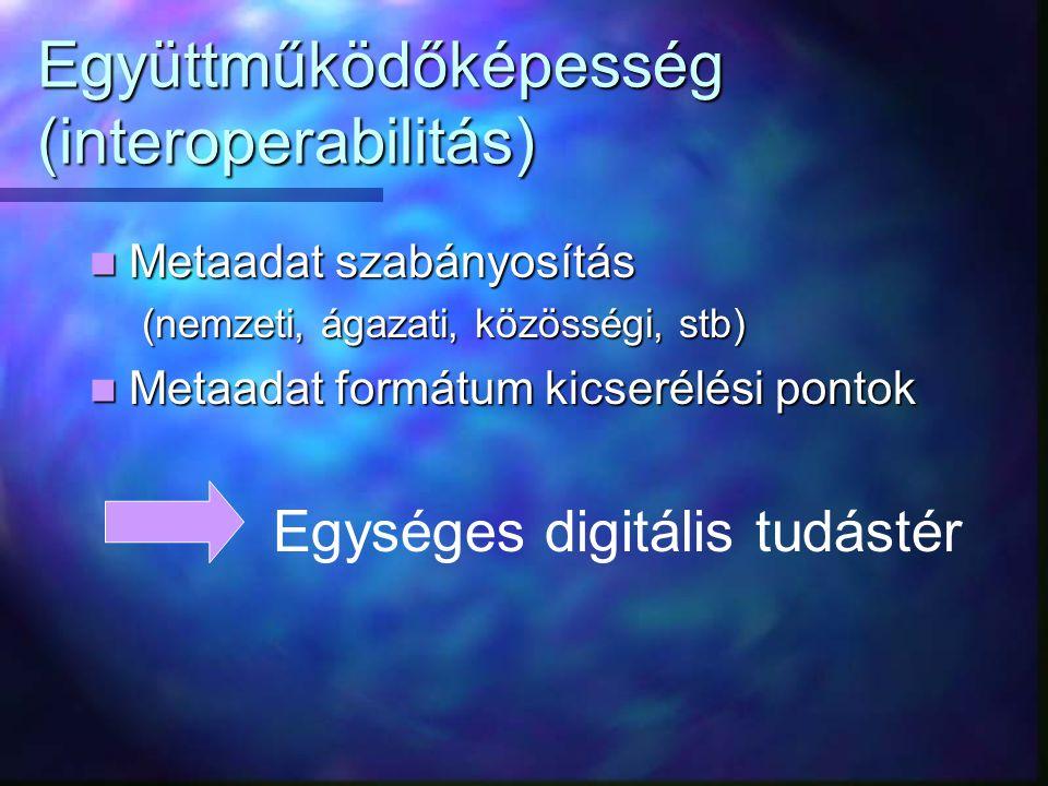 Együttműködőképesség (interoperabilitás) Metaadat szabányosítás Metaadat szabányosítás (nemzeti, ágazati, közösségi, stb) Metaadat formátum kicserélési pontok Metaadat formátum kicserélési pontok Egységes digitális tudástér