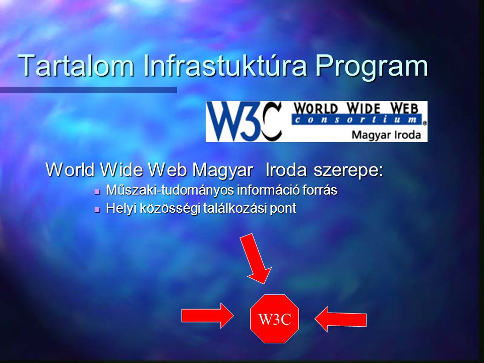 Tartalom Infrastuktúra Program World Wide Web Magyar Iroda szerepe: Műszaki-tudományos információ forrás Műszaki-tudományos információ forrás Helyi közösségi találkozási pont Helyi közösségi találkozási pont W3C