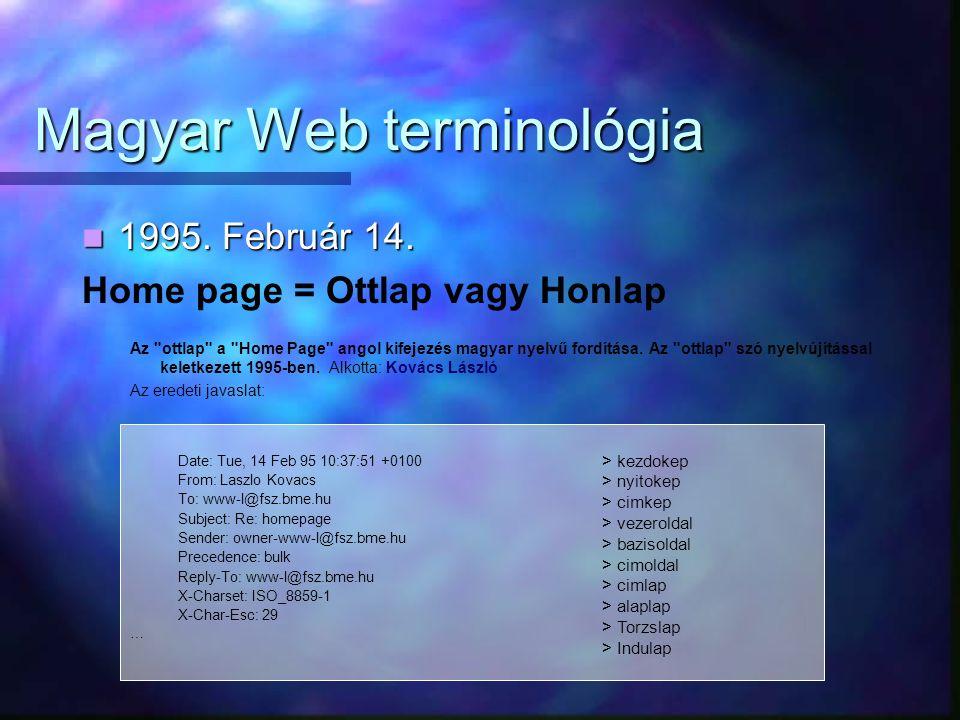 Magyar Web terminológia 1995. Február 14. 1995. Február 14. Home page = Ottlap vagy Honlap Az