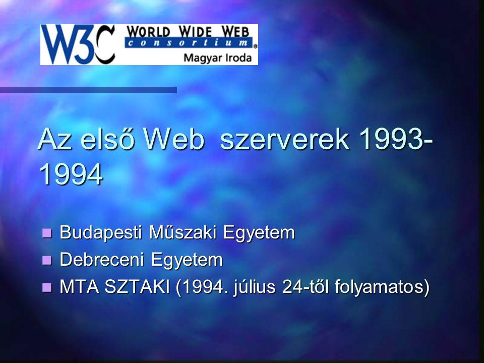 Az első Web szerverek 1993- 1994 Budapesti Műszaki Egyetem Debreceni Egyetem MTA SZTAKI (1994. július 24-től folyamatos)