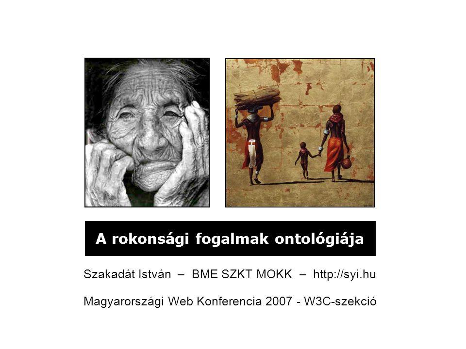 A rokonsági fogalmak ontológiája Szakadát István – BME SZKT MOKK – http://syi.hu Magyarországi Web Konferencia 2007 - W3C-szekció