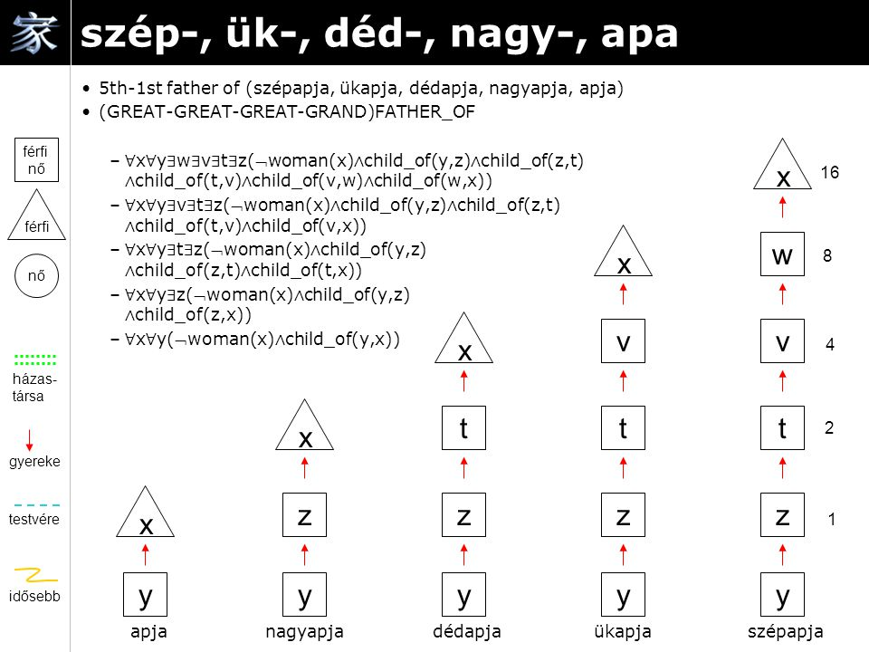 szép-, ük-, déd-, nagy-, apa 5th-1st father of (szépapja, ükapja, dédapja, nagyapja, apja) (GREAT-GREAT-GREAT-GRAND)FATHER_OF – ∀ x ∀ y ∃ w ∃ v ∃ t ∃ z(woman(x) ∧ child_of(y,z) ∧ child_of(z,t) ∧ child_of(t,v) ∧ child_of(v,w) ∧ child_of(w,x)) – ∀ x ∀ y ∃ v ∃ t ∃ z(woman(x) ∧ child_of(y,z) ∧ child_of(z,t) ∧ child_of(t,v) ∧ child_of(v,x)) – ∀ x ∀ y ∃ t ∃ z(woman(x) ∧ child_of(y,z) ∧ child_of(z,t) ∧ child_of(t,x)) – ∀ x ∀ y ∃ z(woman(x) ∧ child_of(y,z) ∧ child_of(z,x)) – ∀ x ∀ y(woman(x) ∧ child_of(y,x)) házas- társa gyereke testvére idősebb nő férfi férfi nő y x szépapja 1 2 4 8 16 y x y x y x x y ükapjadédapjanagyapjaapja zzzz ttt vv w