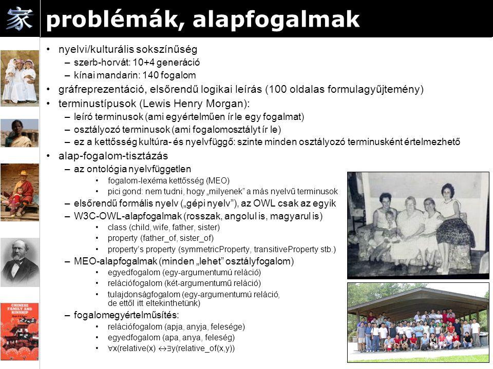 """problémák, alapfogalmak nyelvi/kulturális sokszínűség –szerb-horvát: 10+4 generáció –kínai mandarin: 140 fogalom gráfreprezentáció, elsőrendű logikai leírás (100 oldalas formulagyűjtemény) terminustípusok (Lewis Henry Morgan): –leíró terminusok (ami egyértelműen ír le egy fogalmat) –osztályozó terminusok (ami fogalomosztályt ír le) –ez a kettősség kultúra- és nyelvfüggő: szinte minden osztályozó terminusként értelmezhető alap-fogalom-tisztázás –az ontológia nyelvfüggetlen fogalom-lexéma kettősség (MEO) pici gond: nem tudni, hogy """"milyenek a más nyelvű terminusok –elsőrendű formális nyelv (""""gépi nyelv ), az OWL csak az egyik –W3C-OWL-alapfogalmak (rosszak, angolul is, magyarul is) class (child, wife, father, sister) property (father_of, sister_of) property's property (symmetricProperty, transitiveProperty stb.) –MEO-alapfogalmak (minden """"lehet osztályfogalom) egyedfogalom (egy-argumentumú reláció) relációfogalom (két-argumentumű reláció) tulajdonságfogalom (egy-argumentumú reláció, de ettől itt eltekinthetünk) –fogalomegyértelműsítés: relációfogalom (apja, anyja, felesége) egyedfogalom (apa, anya, feleség) ∀ x(relative(x)  ∃ y(relative_of(x,y))"""