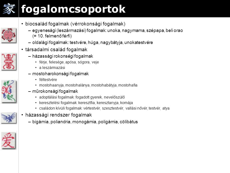 fogalomcsoportok biocsalád fogalmak (vérrokonsági fogalmak) –egyenesági (leszármazási) fogalmak: unoka, nagymama, szépapa, beli orao (= 10.