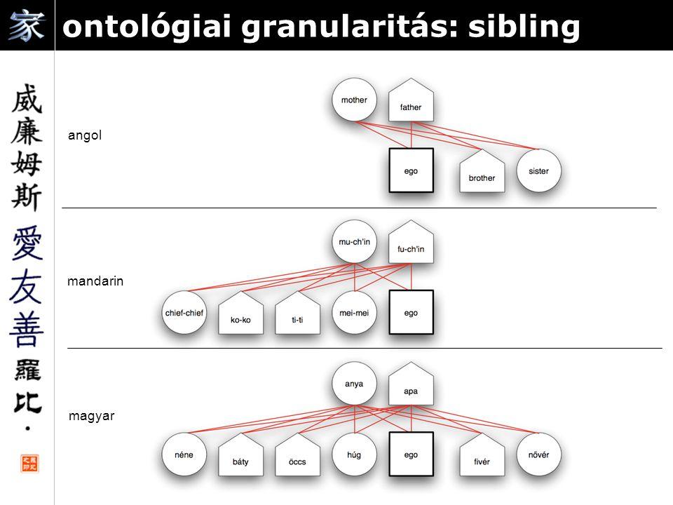 ontológiai granularitás: sibling angol mandarin magyar