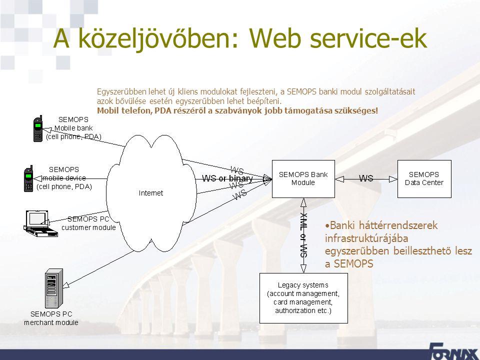 A közeljöv ő ben: Web service-ek Banki háttérrendszerek infrastruktúrájába egyszer ű bben beilleszthet ő lesz a SEMOPS Egyszer ű bben lehet új kliens modulokat fejleszteni, a SEMOPS banki modul szolgáltatásait azok b ő vülése esetén egyszer ű bben lehet beépíteni.