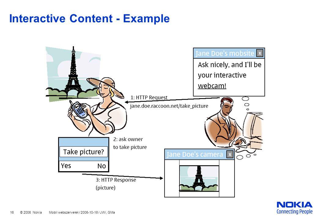 16 © 2006 Nokia Mobil webszerverek / 2006-10-18 / JWi, GMa Interactive Content - Example